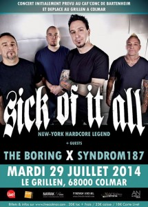 SICK OF IT ALL + THE BORING + SYNDROM 187 – Grillen – Colmar (68)